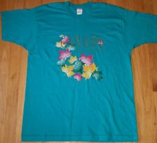 Vintage 90s CANADA shirt XL teal leaves Niagra Falls tourist made in Canada gold