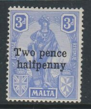 """Malta - 1925, 2 1/2d on 3d Bright Ultramarine - Flaw on """"T"""" & """"P"""" of """"Two Pence"""""""