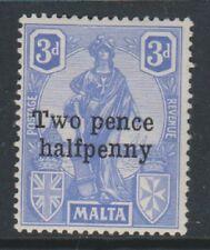 """MALTA - 1925, 2 1/2 D su 3d BRILLANTE BLU OLTREMARE-difetto sulla """"T"""" &"""" P """"di"""" due Pence"""""""