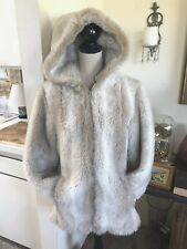 Sears Vintage Faux Fur Coat with hood wolf blonde size Med/ Large