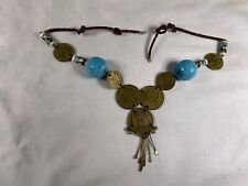Vtg Peruvian Brass Coin Necklace Twisted Leather Cord Blue Ceramic Beads a406