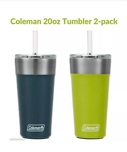 Coleman Tumbler Stainless Steel, Hot Cold Drinks, Chug or Straw Top,20 oz,2-pack