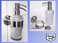 Design Edelstahl Seifenspender m. Halter 220ml Glas Pumpflasche für Flüssigseife