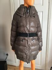 Benetton Light Brown Wet Look Quilted Down Filled Hooded Winter Coat 46 UK14
