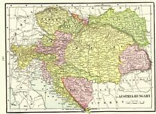 1901 Antique AUSTRIA Map HUNGARY Map of Bosnia Croatia Map Gallery Wall Art 6754