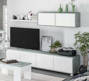 Parete attrezzata mobile TV sala da pranzo Ginevra bianco salotto soggiorno base