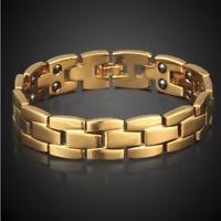 Armspange Gold Kette Armreif Magnet Armband dick Herren Männer Damen vergoldet
