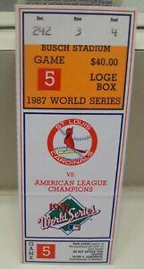 St. Louis Cardinal's 1987 World Series, Game 5 Ticket Stub vs. Minn. Twins