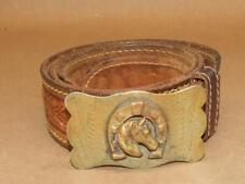 "Vintage Western Tooled Leather Acorn Leaf 42"" Belt Brass Horse Horseshoe Buckle"