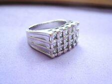 Gorgeous Men's Signet Ring w/ 15 Genuine Diamonds 1.1 ctw 14K White Gold sz 8.75
