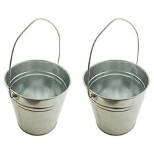 "Set of 2-Galvanized Metal Pail Buckets Size: 6"" Tall X 7-3/4"" Diameter"