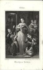 Stampa antica GOETHE GOTHE Mamma pane per molti bimbi 1860 Old print Alte stich
