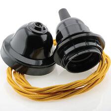 Vintage Pendant Kit, Black Bakelite E27 Bulb Holder Twist Flex in Gold
