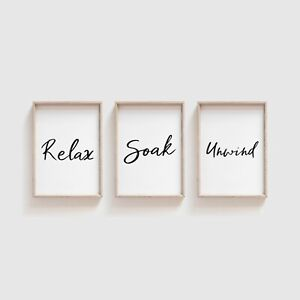 Set of 3 Home Prints Black and White Funny Home Wall Art Pictures