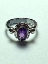Sterling Silver Ring with Faceted Med. Dark Purple Amethyst Stone Size 8 US Size