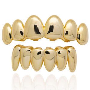 Fit Hip Hop Grills Top and Bottom Set 18K Gold Silver Plated Bling Teeth Grillz