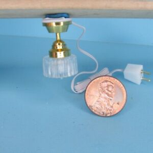 Dollhouse Miniature 12v Electric Hanging Ceiling Lamp Clear Shade MH684