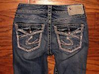 Buckle SILVER JEANS SUKI FLAP Low Rise Boot Cut Stretch Jeans Sz 24 W 26 x L 34