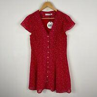 Atmos & Here Dress 10 Petite Red Polka Dot Short Sleeve V-Neck Button Closure