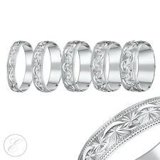 9ct White Gold Ring Heavy Weight Court Shaped Diamond Cut Wedding Band