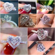Heart Cut Cubic Zirconia Fashion 925 Silver Rings Women Wedding Jewelry Sz 6-10
