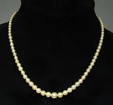 """Antique Signed Deco 10k White Gold AAA Saltwater Graduated Pearl Necklace 17"""""""