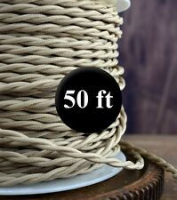 Sahara Beige Cloth Covered Twisted Wire 50ft Roll - Lamp Cord - Antique Fan