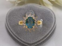 Vintage Jewellery Gold Ring with Aquamarine White Sapphires Antique Jewelry 8 Q