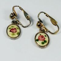 Vintage Guilloche Enamel Pink Rose Gold Tone Dangle Clip-on Earrings Victorian