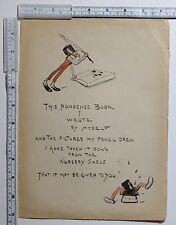 C1880 antica stampa ~ prima pagina assurdità LIBRO Cartone Animato Caricatura