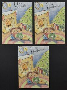 LOT OF 3 Love Romantic Christmastime Christmas Card by Freedom Greetings C1890-6