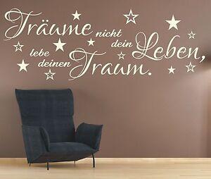 X2011 Wandtattoo Spruch Träume nicht dein Leben Lebe deinen Traum Wandaufkleber