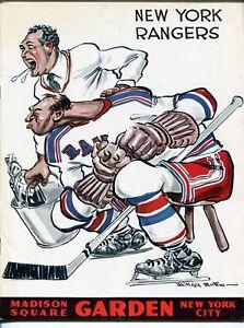 New York Rangers v Boston Bruins NHL Program 2/21/1960