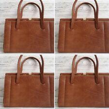 "Vintage 1960's Faux Leather Brown/Beige ""KELLY"" Day Handbag."