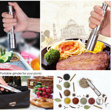 Stainless Steel Thumb Push Salt Pepper Grinder Spice Sauce Mill Muller Stick