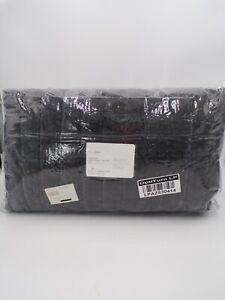 Pottery Barn Hudson Heathered Velvet Quilt Full Queen Charcoal Grey #144C