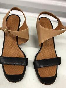 CHIE MIHARA Cone Heel Sandals 37  Brown/ Black Women's US 7