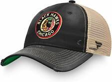 Mens Fanatics Black Chicago Blackhawks True Classic Washed Trucker Snapback Hat
