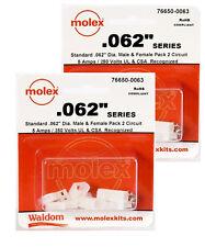 """Molex 2-Pin Connector Kit 0.062"""" ((( 6 Sets ))) 24 ~ 18 AWG Crimp Terminals"""