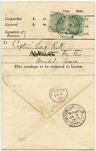 NATAL 1900 PRINTED TELEGRAPH ENV FRERE PMK 2 x 1/2d to CAPT LONG NAVY BOER WAR