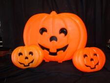 "vtg Halloween Lighted Blow Mold Jack Pumpkin Wall Decor Stand lot 3 pieces 19&9"""