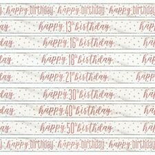 Rose Gold Glitz Birthday Foil Banner, Party, Pink, Age,Teen, Adult, Celebration