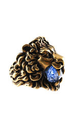 Gucci Sapphire Blue Crystal Lion Head Ring Gold Blue Size 10