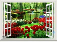 Secret Garden Tulip 3D Window View Removable Wall Stickers Decal Home decor Art