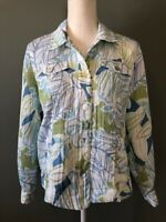 Alfred Dunner Women's Button Up Jacket Size 8 Blue Green Floral Pockets Crinkle