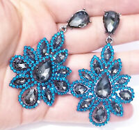 Rhinestone Clip On Chandelier Earrings Bridal Prom Pageant 3.2 inch AB Drag Exotic Belly Dancer Rave Cocktail Party Gift Wedding