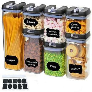 7pc Black Airtight Food Storage Container Set Kitchen Pantry Dry Food Dispenser