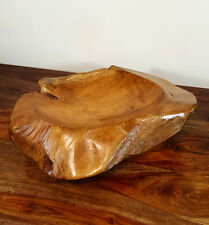 Solid Hand Carved Rustic Teak Bowl,Wood,Ornament,Wooden Carvings,Homeware,Gifts