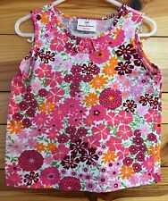 Hanna Andersson Girls White Floral Sleeveless Top Shirt EUC Size 100 4-4T