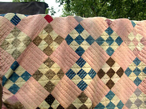 "Antique Cotton Feed Sack Quilt Hand Stitched Diamond Patchwork Pattern..89"" x 84"